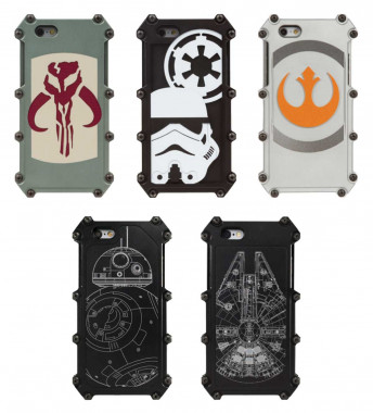 Example Bounty Hunter, Empire, Rebel Alliance, BB-8, and Millenium Falcon Cases