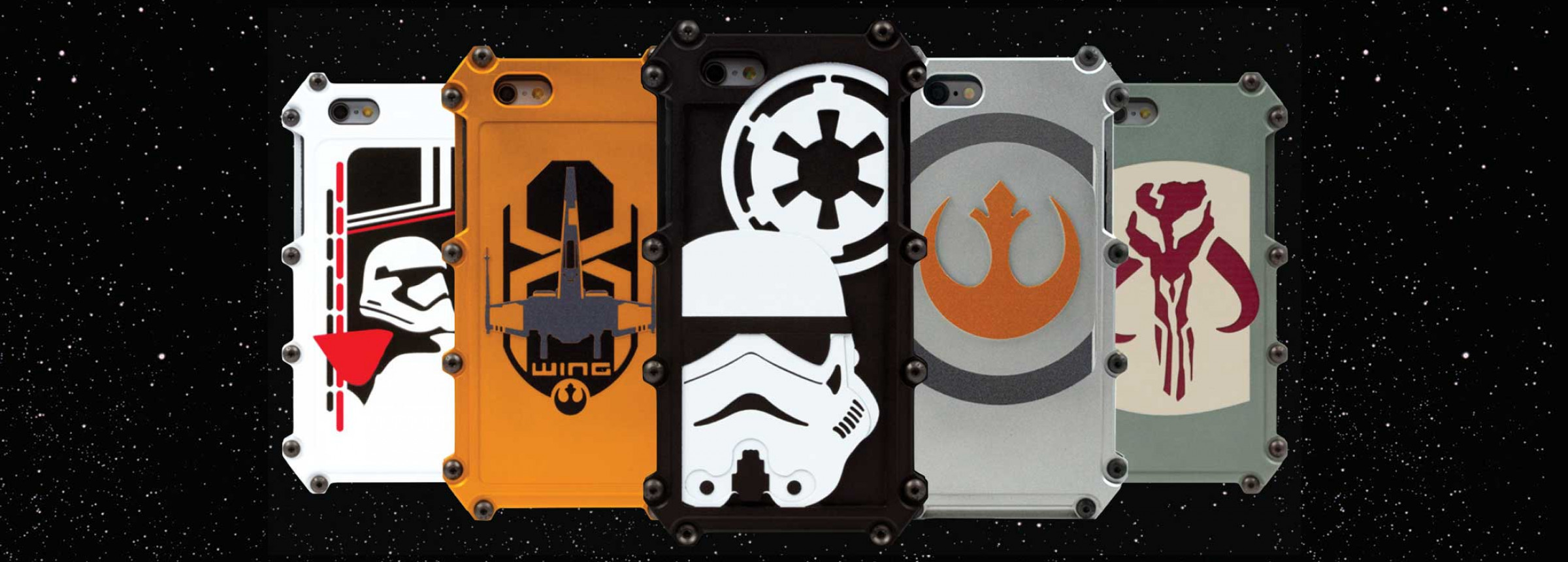 Example First Order, X-Wing, Empire, Rebel Alliance, and Bounty Hunter Cases